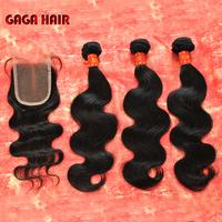 3pcs Brazilian Hair Weft Bundles With Lace Closure 4pcs/lot Cheap Brazilian Virgin Human Hair Weave Wavy Extension Body Wave