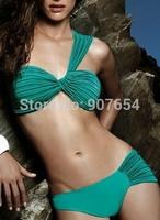 2015 Green One Shoulder Swimwear Sexy Bikini Set Padded Biquini Bandage Swimsuit Women Vintage Bathing Suit Free Shipping 1133