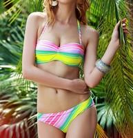 2015 Gradient Bikini Set Vintage Colorful Swimsuit Women Bandeau Swimwear Halter Rainbow Biquini Bathing Suit 1263