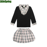LittleSpring Retail IN STOCK Girls plaid suits Girls plaid clothes clothing sets girls fashion clothes clothing set
