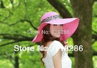 Free shipping FOLDABLE,PORTABLE and FASHION straw sun hat visor Wide Brim Summer hat fashion Bowknot Ribbon lady Beach Hat
