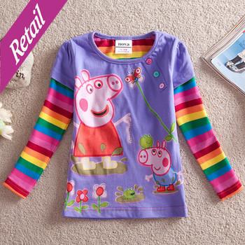 peppa pig  t shirts nova kids wear 2014 new baby girl children clothing girls long sleeve casual t shirt for girls