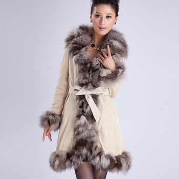010204W Real Leather Coat overcoat with silver fox Мех Воротник trim jacket outwear ...