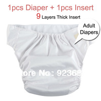 Adjustable Adult Diapers Adult Nappies Cloth Diapers Incontinence Diapers Pants 9 Layers Insert 1pcs Diaper+1pcs Insert (AD-01)