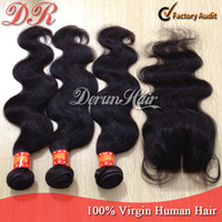Brazilian Virgin Hair Extension 3pcs Hair Bundles With 1pc Lace Closure Human Hair Weave 6A Brazilian Body Wave Wavy Hair Weft