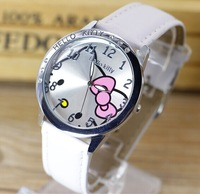 New Fashion 6 Colors Hello Kitty Women Leather Crystal Diamond Rhinestone Watches Lady Quartz Wristwatch Hours XMAS Gift