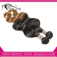 Pretty Lady  1pc 16-22in T1b/27# 2 tone Brazilian bleached body wave ombre hair weaves 100g/pc    DHL  free shipping