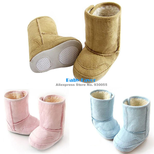Fashion Free Shipping 1pc Baby Boy Girl Infants Kids Toddler Autumn Warm Fur Shoes Snow Boots Bottom Prewalkers Pink Blue 6-24M(China (Mainland))