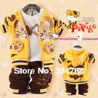2014 Baby Boys 3pcs Clothing Set Autumn Tiger Cotton Sport Clothes Sets Hoodies Jackets + Pants + T shirt Baby Clothing Sets
