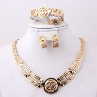 New Design African Gold Plated Charming Fashionable Good Quality Bridal Wedding Costume Vintage Jewelry Sets
