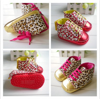Free shipping  wholesale 2013 promotion Cute Baby Girl Infant Toddler Leopard Gold Crib Shoes Walking Sneaker  3pairs/lot