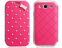 Beads Decorated Faux Leather Flip Case for Samsung Galaxy S3 I9300     LMS-1906D