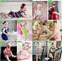 2014 summer baby Set petti lace romper + headband girl fashion toddler jumpsuit,infant Carters bodysuit 2 pcs baby clothing set