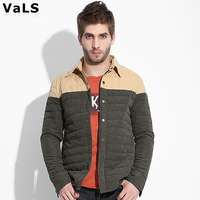 Free Shipping 2013 New Arrival Men Autumn Winter Cotton Coat Jacket, Warm with Brand Design, Color Army Green and Blue, Big Size