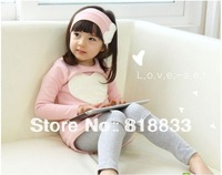 Love full dress t-shirt patch legging hair bands three pieces a set 2013 autumn girls clothing ,free shipping (GQ-013-2)