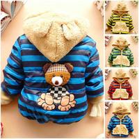 2014 New children outerwear baby boys autumn winter warm striped bear hoodies fleece lining cotton-padded coat jacket