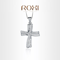 ROXI  Exquisite cross necklace platinum plated with CZ diamonds,fashion Environmental Micro-Inserted Jewelry,103024576