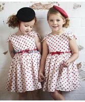 2014 Brand New Baby Girl Red Polka Dot Dress Girls' Summer O-neck Sleeveless Cotton Christmas Party Dresses With Chiffon Belt