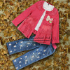 New 2013 Chirstmas Girls Clothing Suit Red Lacy Outfit And T Shirt And Jeans Pants Wholesale Children Clothes CS30725-13