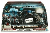 Free shipping PVC action figures police car robots classic toys for children human alliance Barricade+Frenzy in original box
