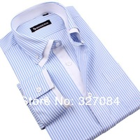 [SL01] Brand Double Collar Men Shirts Long sleeve Business Casual Style, Blue and White Stripes Shirt High Quality Good Product