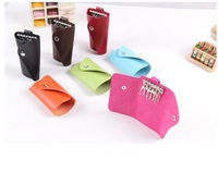 Candy colors PU leather key wallets holder 6 key chain solid fashion women&men's key case bag