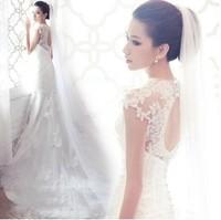 2014 Vintage New Fashion Lace Mermaid Backless White Princess Wedding Dresses Corset Wedding Dress  With Train
