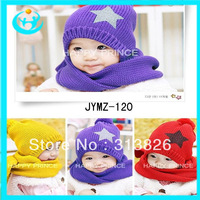 Free Shipping Five-pointed Star Knitted Cap + Scarf 2 Pieces Price Children Hats Christmas Gift, infant baby knitted hat