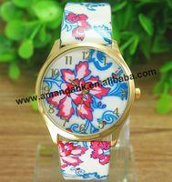 100pcs/lot Elegant Blue And White Porcelain Watch Fancy Oriental Ceramics Watches Fashion Leather Flower Woman Dress Wristwatch