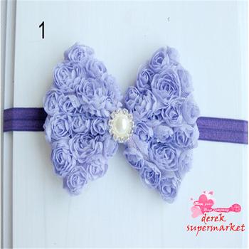 2013 New Arrival Baby Girl Headdress 11 cm Before Chiffon Rose Flower Bow DIY Headband Hair Accessories XM-92