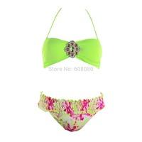 2015 Crystal Bikini Floral Print Swimwear Halter Bnadeau Swimsuit Brazilian Women Biquini Padded Bathing Suit 1268