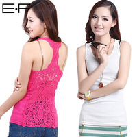 Free Shipping ! 2014 New Arrival Autumn Women Sexy Hollow-out Vest  Patchwork Cotton Camisole Pierced Lace Camis Tank Tops