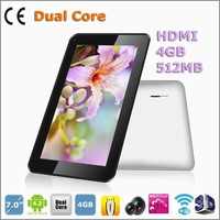 7 inch VIA8880 Dual Core 1.2GHZ 4GB 512MB wifi 2500mAH Android 4.2 800*600 5-point touch capacitive screen cheap tablet pcs