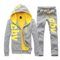 Autumn and winter 2013 men and women can wear thick velvet sports suit casual fashion letters printed hoodie sweat pants