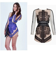 Free shiping  LACE LONG SLEEVE DRESS  CHINA BLUE Lace Mini Dress long sleeveDress Bodycorn Pencil Dress Contrast Lace Panel272