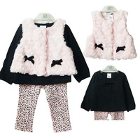 Vintage fashion Girls three piece clothes suits bow fur Novelty print sets for the Kids vest+tee+pants free shipping