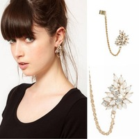 Min Order $10(Mix Order) Free Shipping,C097,New Punk Style Sweet Rhinestone Flower Ear Cuff Clip Earrings, Jewelry Wholesale