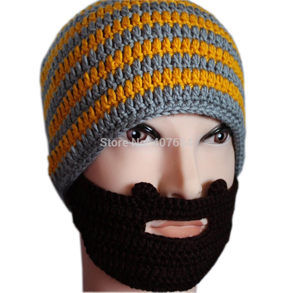 fashion funny acrylic handmade orange and gery striped beard knitted hat,skullies ski hat(China (Mainland))