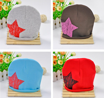 10pcs/ lot New Design Baby Autumn Cap Fashion Star Hat Cotton Boys & Girls Skull Beanie Hat Free Shipping Wholesale Kids Gift
