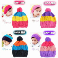 2014 new fashion candy colored rainbow striped knitted baby hats & caps children accessories winter girls hats