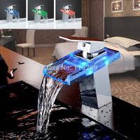 Advanced Modern LED glass waterfall Brass Basin Faucet Polished Bathroom Mixer Tap Deck Mounted basin sink Mixer Tap XP-009