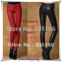 Brand New Women Leather Pants Red/Black With Matte PU,  Fashion Slim Hip Skinny Pencil Trousers XS--XXL Plus Size  #JM06711