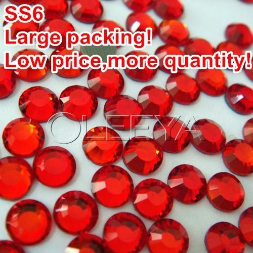 Free Shipping SS6 Color Light.siam Large packing 1000Gross/bag DMCHotFix Flatback Transfer Rhinestone DIY Glue LooseStones Y0347(China (Mainland))