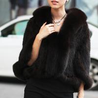 New Genuine Knit Mink Fur Shawl Poncho With Fox Trimming Real mink fur jacket Fashion Women TPPM0001