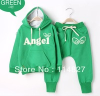2014 New style girl's /boys Angel wings sports clothes set , baby children's 2pcs Clothes (Long sleeve hoodies+pants) ,5set/lot