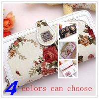 FREE SHIPPING Women Wallets Classics Bretro Style Brand Canvas Women Long Zipper Flower Coin Purse Clutch Carteira Feminina