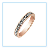 (Min order $5)(>3pcs,15% off) Womens Rose Gold 316L Stainless Steel Wedding Engagement Zircon Channel-set Stone Rings Wholesale