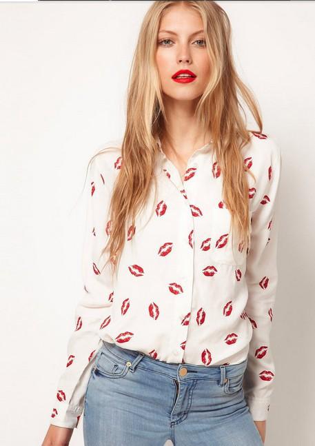 New Women Button Red lip Print Blouse lady Stand Collar chiffon t Long Sleeve Shirt white Top blouse 3 size(China (Mainland))