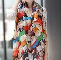 2014 New Arrival CHEAPEST Scarves Women Novel Cartoon Figure Fashion South Park Print Chiffon Silk Scarfs Woman 's Cape Shawl