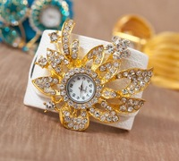 Wholesale Watches New 2014 Hot Selling Wristwatch Big Flower Quartz Clock Gift for Girl Women Dress Women's Rhinestone Watches
